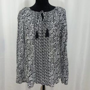 Faded Glory Womens Top Blk & Wht A44